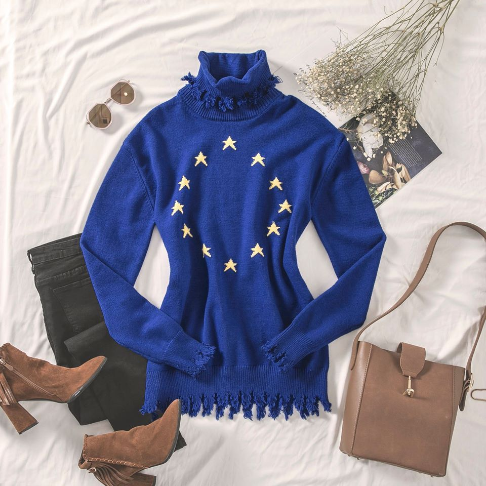 blue sweater