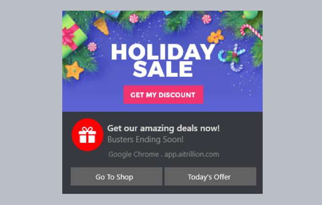 Shopify Web Push Holiday Sale Notification