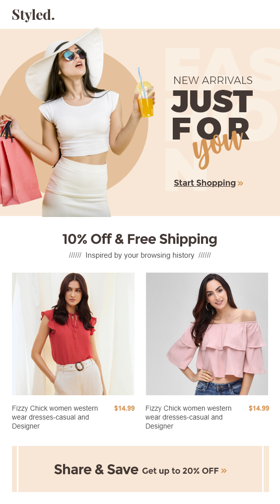 Clothing Store Welcome Email